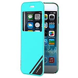 Hi5Gadget Window View Flip Leather Case Cover for iPhone 6 Plus 5.5 Inch iphone 6 + (Blue)