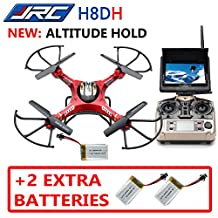 JJRC H8DH **New Version: Altitude Hold** (+2 EXTRA BATTERIES) 5.8Ghz High Range FPV with LCD Monitor RTF RC Quadcopter Drone One Key Return/Headless Mode 3D flips 2.0MP Camera