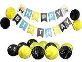 Boys' Construction Themed Children's Birthday Party Supplies Set w/ 8 Balloons, 8 Paper Pom Pom Balls, & Happy Birthday Banner Garland (Construction (yellow, black))