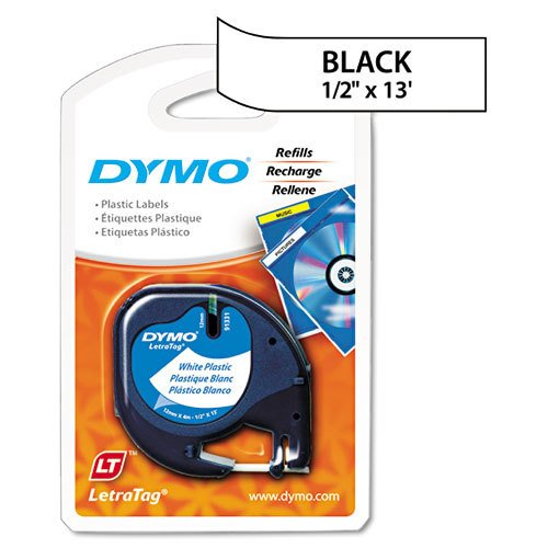 Genuine DYMO Black on White Polyester LetraTAG Tape Label