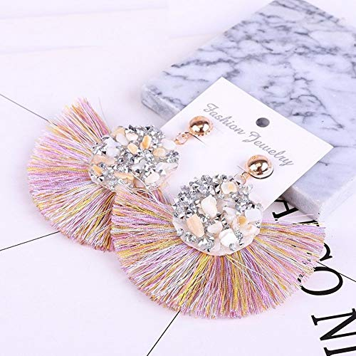 Rhinestone Stone Boho Bohemia Statement Pendientes Tassle Earing Bohemian Fringe Tassel Earrings for Women Drop Dangle Earring Jewelry Wedding Fringed Gifts (Pink #10) ()