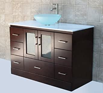 "solid wood 48"" Bathroom Vanity Cabinet Glass Vessel Sink"