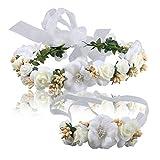Flower Crown White Women Girls Headpaiece Floral Headband for Wedding Festival