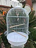 Mcage New Round Dome Canary Cockatiel Parakeet Bird Cage 16' Diameter X 28' H (White)