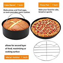 Air Fryer 3 Piece Accessory Pack - Universal Compatibility with most 5.2L/5.5QT Air Fryers - 7 inch Cake Barrel, 7 inch Pizza Pan and 7 inch Metal Holder (US STOCK) (3 Piece Accessory Set)