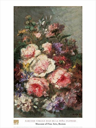 花by Narcisse Virgile Diaz de la Pena 32 x 24アートプリントポスターフローラルデザイン有名なペイント B0073TZMRM  - -