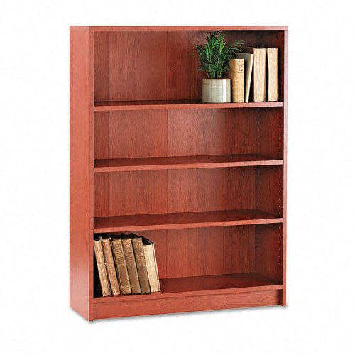 - HON 1870 Series Bookcase, 4 Shelves, 36 W by 11-1/2 D by 48-3/4 H, Henna Cherry