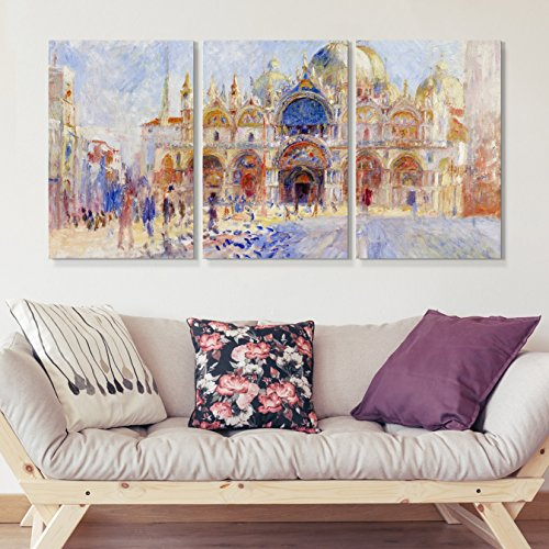 wall26 3 Panel World Famous Painting Reproduction on Canvas Wall Art - The Piazza San Marco, Venice by Pierre Auguste Renoir - Modern Home Decor Ready to Hang - 16