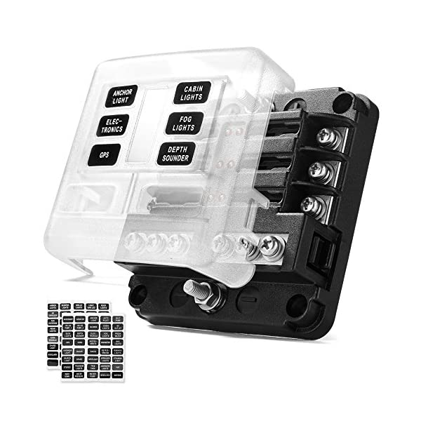 MICTUNING 6-Fach Sicherungshalter, ATO Sicherungskasten mit LED-Anzeige Schutzabdeckung für KFZ-Boot Marine-SUV