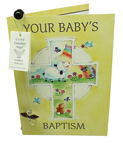 Angel Baptism Gift Set - 2 Pc BIrthstone Crystal Guardian Angel Set With Baptism Greeting Card - Comes in an organza bag so it's ready for giving! (April Aurora Borealis)