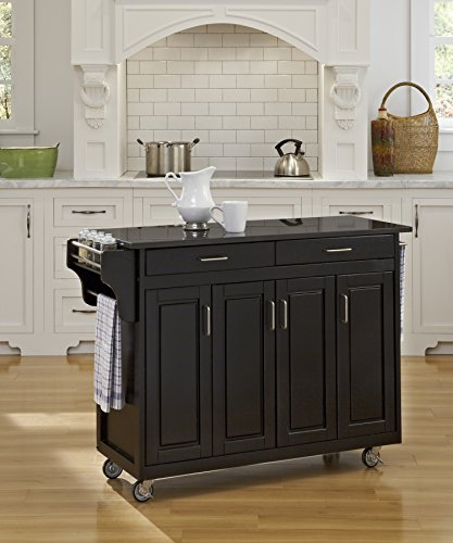 Home Styles 9200-1044 Create-a-Cart 9200 Series Cabinet Kitchen Cart with Granite Top, Black Finish (Cabinet Carts Black Kitchen)