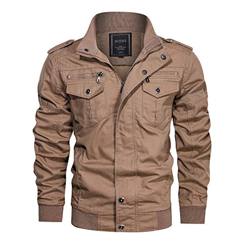Men's Military Style Jacket, Stand Collar Spring and Autumn Casual Cotton Coat, A Durable Jacket, Black, Army green, Khaki