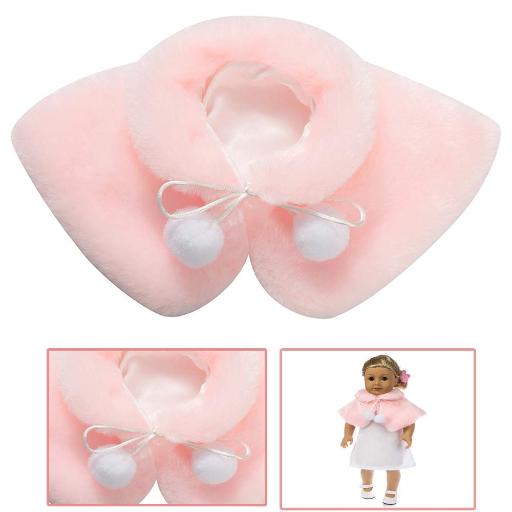 Livoty Doll Clothes Shawl Plush Winter Clothes Hand Made for 18 Inch American Toy Girl Doll Accessory Girl's Toy (Pink)