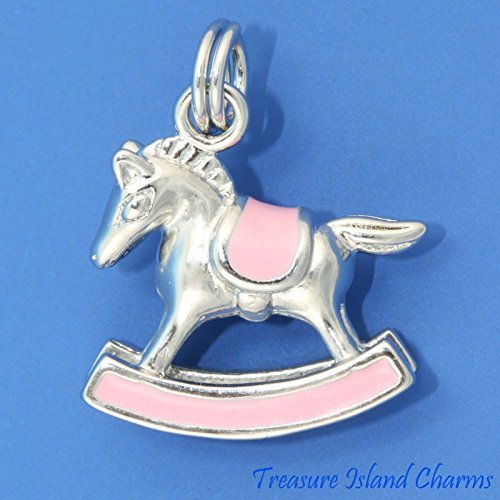 (Baby Girl Rocking Horse Toy Pink Enamel 3D .925 Solid Sterling Silver Charm Ideal Gifts, Pendant, Charms, DIY Crafting, Gift Set from Heart by Wholesale Charms)