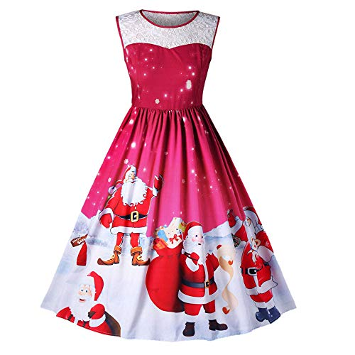 Mysky Fashion Women Casual Christmas Print Swing Dress Ladies Vintage Lace Patchwork A-Line Dress ()
