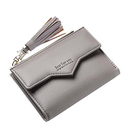 Slim Wallet Women's Mini Purse Credit Card Case Houlder Compact Bifold Pouch Coin Zipper Pocket Small Clutch Tassel Grey