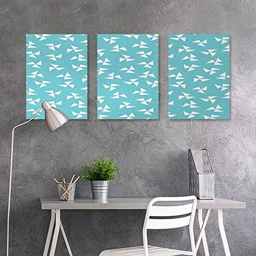 - BE.SUN Pattern Oil Painting Art Sticker,Aqua,Hipster Geometrical Pattern with Pinwheel Triangles and Slightly Grunge Look,Office Art Decoration 3 Panels,24x35inchx3pcs,Turquoise White