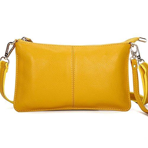 Women Yellow Clutch Phone leather TOPSHINE Bag Wristlet Fashion Small Wallets Crossbody Purse for f7wawxIq