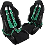 Reclinable JDM Black Racing Seats+Green 4 Point Camlock Seat Belts Harness 2PC