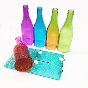 Glass Bottle Cutter, [Gen-2 Version] AceList Stained Glass Cutting Tool Kit Glass Wine Jar Etching for DIY Glassware, Lamps, Vases, Candle Holders - for Larger, Longer Bottle and Jar- Turquoise