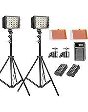Neewer Kit de luz Panel LED Regulable con Soporte, batería de Litio 2600mAh/Cargador de USB/filtros de Colores/Cabeza de Bola para réflex Digitales videocámaras Canon Nikon Sony
