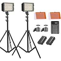 Neewer 2-pack 160 LED Video Light Dimmable Lighting Kit with 75-inch Light Stand, 2600 mAh Li-ion Battery, USB Charger, Color Filters and Ball Head for Canon, Nikon, Sony DSLR Cameras, DV Camcorders