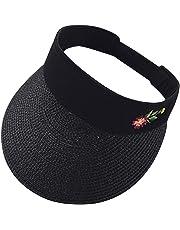 91bed3d1588 Sttech1 Women Summer Embroidery Flower Hat Straw Hat Sun Visor Adjustable  Sports Tennis Golf Cap Headband
