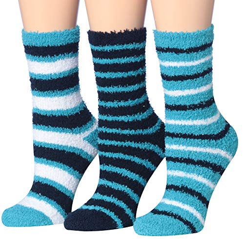 Tipi Toe Women's 3-Pairs Cozy Microfiber Anti-Skid Soft Fuzzy Crew Socks FZ15-B (Best Fuzzy Socks Brand)