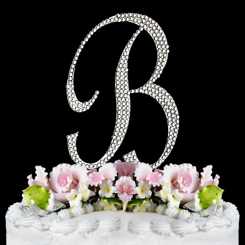 RaeBella Weddings Completely Covered Swarovski Crystal Silver Wedding Cake Topper ~ Medium Monogram Letter B