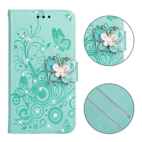 Price comparison product image Yobby Wallet Case Xiaomi Redmi Note 6,  3D Bling Crystal Rhinestone Flower Butterfly Case Slim Premium PU Leather Flip Cover Kickstand / Card Slot / Wrist Strap Women-Mint Green
