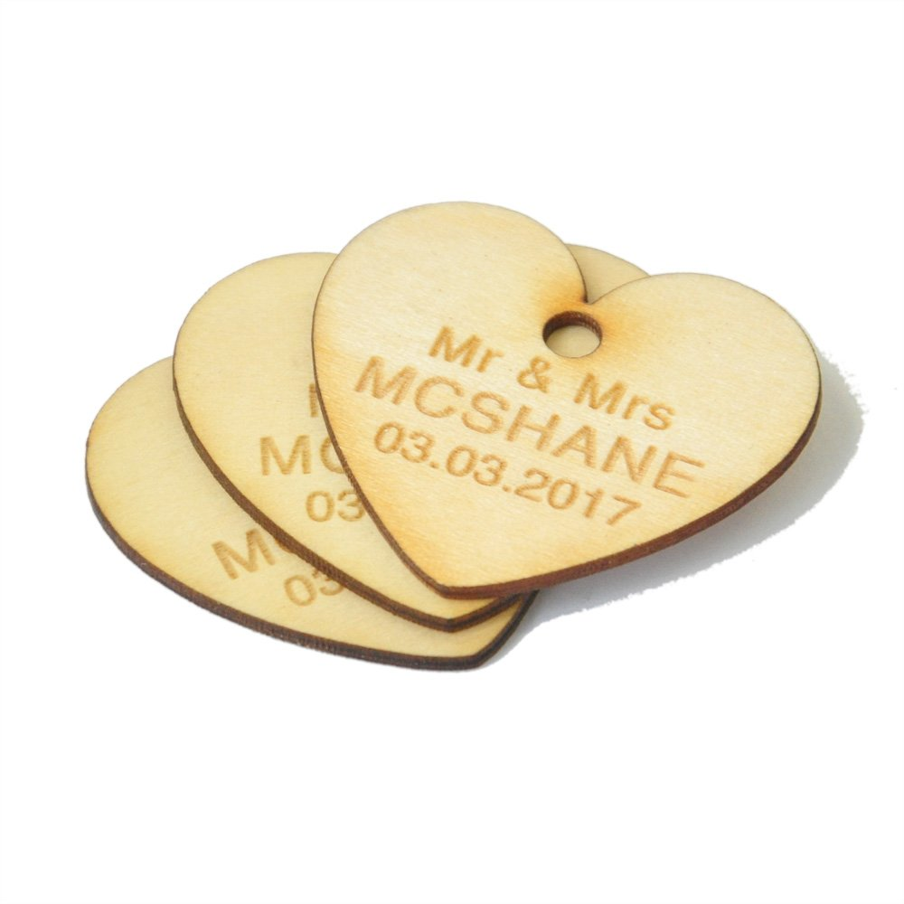 50 Custom Wooden Tags, Wooden Hearts, Wood Tags, Heart Tags, Invitation Tags, Personalized Favor Tags, Wedding Favor Tags LOVEhandmade