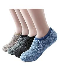 SKOLA 4/6Pairs Cozy Fuzzy Winter Women Gripper Slippers Socks,Fluffy Non Skid Bottoms