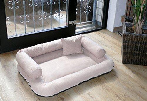 CH tierlando 5-05 CHARLY Dog divano per cani, in Alcantara, 120 x 90 cm, colore: crema