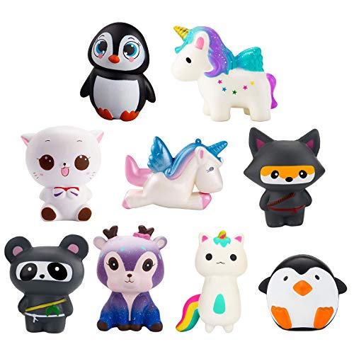 - WATINC Random 4 Pcs Jumbo Animal Squishy Sweet Scented Vent Charms Kawaii Kid Toy , Lovely Stress Relief Toy, Animals Gift Fun Large