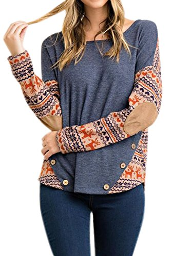 - Women Stripe Knits Shirts Longsleeve Christmas Color Block Button Casual Tunic Blouse Tops Light Blue M