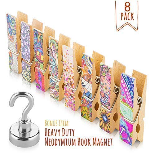Clips Clothespin Magnet - Fridge Magnets Set - 8 Strong Decorative Magnetic Clips + 1 Magnetic Hook - Display Photos & Memos On a Whiteboard, Refrigerator, Office Or Classroom In Unique & Fun Way By Treats&Smiles
