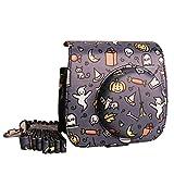 [Fujifilm Instax Mini 8/8+ Case] - CAIUL Halloween Pattern PU Leather Case Bag for Instax Mini 8 Camera - Film Count Show Design