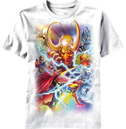 Thor (Marvel Comics) Mens T-Shirt - 75th Anniversary Thor Loki Battle Alex Ross (Large) White