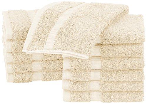 Pinzon Organic Cotton Bathroom Washcloths, Set of 12, Ivory