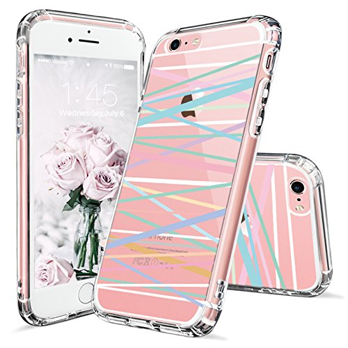 Colorful Protective Case (iPhone 6 Case, Clear iPhone 6s Case, MOSNOVO Colorful Stripes Pattern Clear Design Printed Transparent Plastic Hard Back Case with TPU Bumper Protective Case Cover for Apple iPhone 6 6s (4.7 Inch))