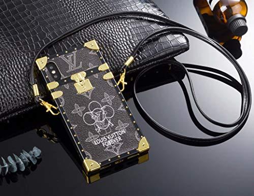 Phone Case for iPhone 8 Plus/7 Plus, Vintage Elegant Luxury Designer Monogram PU Leather Back Cover with Lanyard Soft Bumper Trunk Case for iPhone 8 Plus/7 Plus