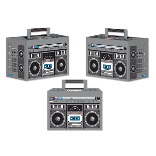 Beistle 54126 3-Pack Boom Box Favor Boxes, 4-Inch by -