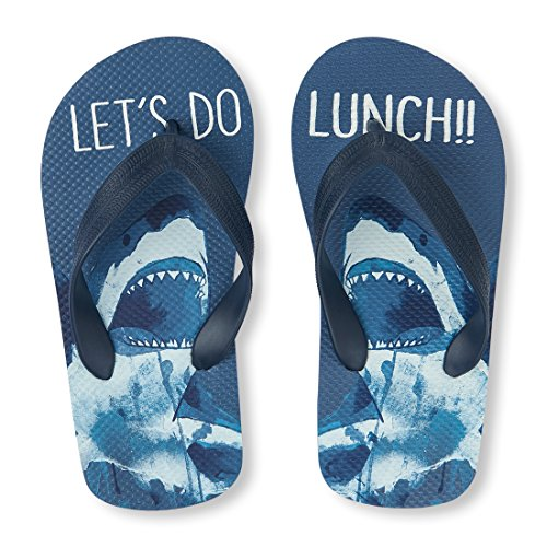 The Children's Place Boys' BB Shark FF Flip-Flop, Blue, Youth 1-2 Medium US Big Kid