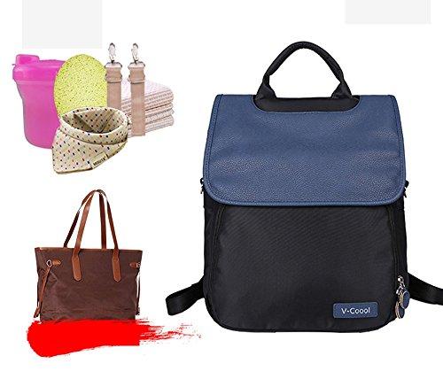 Bolso de la momia del hombro, bolso de múltiples funciones grande del bebé de la capacidad, paquete del recorrido de la mam3a de la manera, bolso del bebé de las mujeres embarazadas ( Color : Pink ) Azul