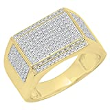 0.90 Carat (Ctw) 10K Yellow Gold Round White Diamond Men's Flashy Hip Hop Pinky Ring (Size 9.5)