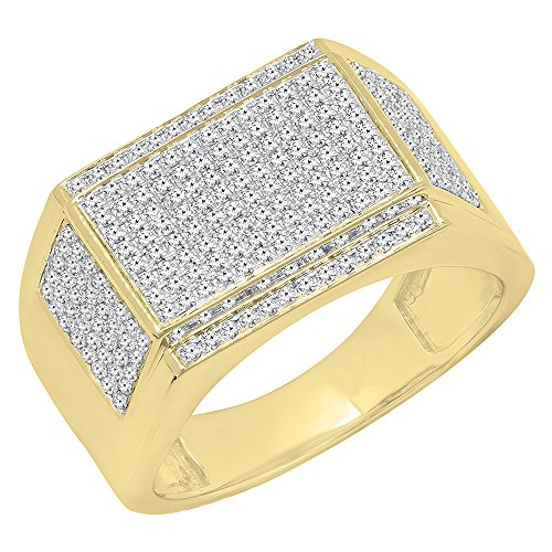 0.90 Carat (Ctw) 10K Yellow Gold Round White Diamond Men's Flashy Hip Hop Pinky Ring (Size 10)