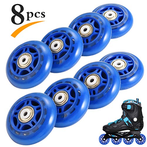 RUNACC Inline Roller Skate Wheels 82A 70mm Premium Replacement Rollerblade Wheels with Bearings (Blue- Set of 8) (82A-Blue-8pcs) (82A-8pcs-Blue) (Outdoor Hockey Blade)