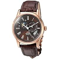 Orient Men's 'Sun and Moon' Japanese Automatic Stainless Steel and Leather Dress Watch, Color:Brown (Model: FET0T003T0)