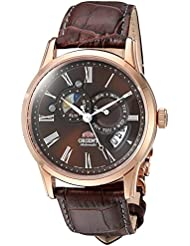 Orient Mens Sun and Moon Japanese Automatic Stainless Steel and Leather Dress Watch, Color:Brown (Model: FET0T003T0)
