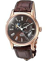 Men's 'Sun and Moon' Japanese Automatic Stainless Steel and Leather Dress Watch, Color:Brown (Model: FET0T003T0)